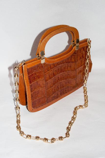 Sac a main en crocodile vintage